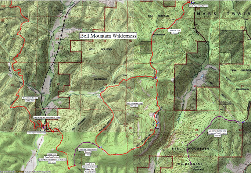 bell mountain wilderness area map